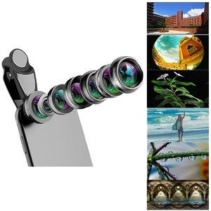 Image 2 - Объектив для камеры телефона, 7 в 1 комплект для объектива сотового телефона для Iphone и Android, Широкоугольный макро объектив с рыбий глаз круговой поляризационный фильтр калейдоскоп и 2X Te