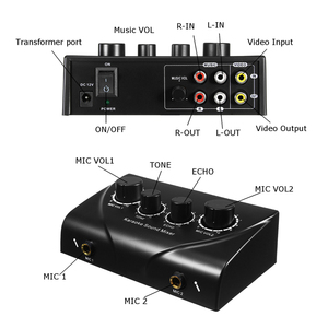 Image 4 - LEORY Karaoke ses mikseri profesyonel ses sistemi çift Mic girişi taşınabilir Mini dijital Karaoke makinesi mikser aile KTV için