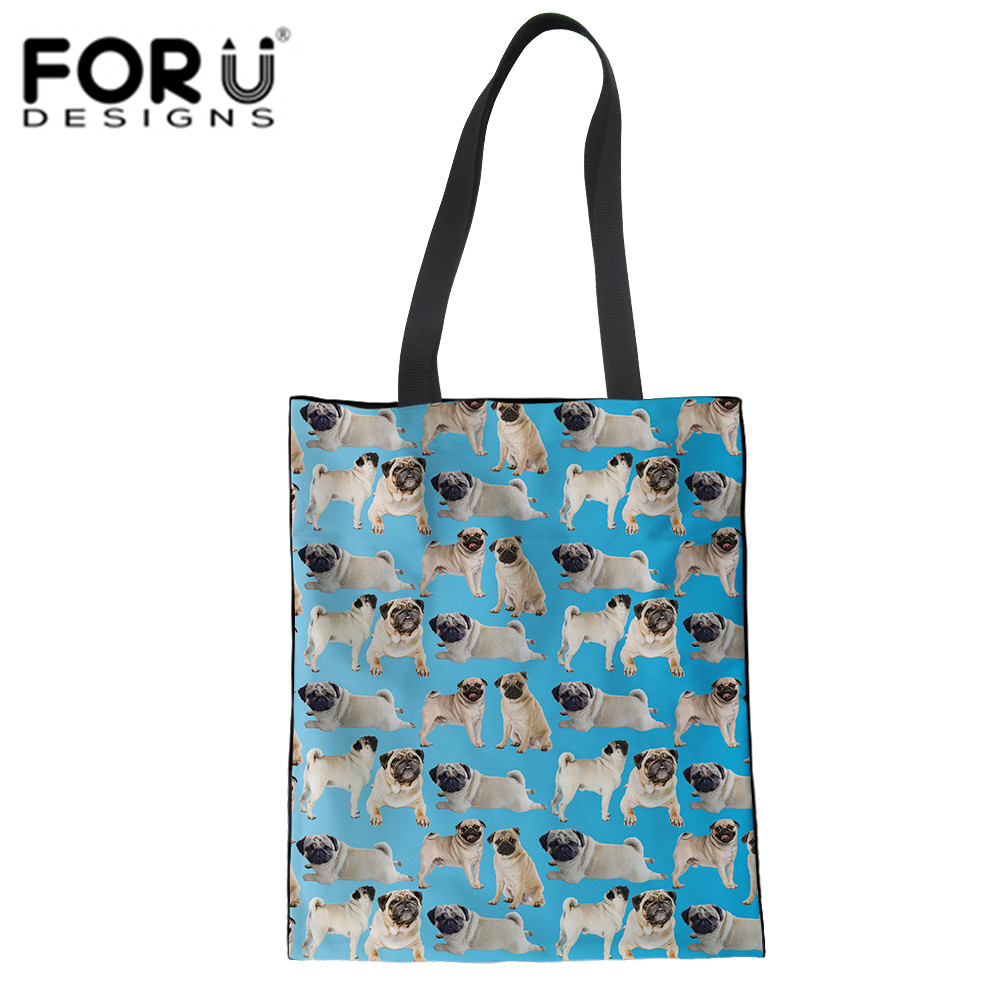 FORUDESIGNS Reusable Foldable Bag Shopping Bag Cute Pug Animal Pattern Travel Grocery Bags Tote Woman Shoulder Bag Dropshipping