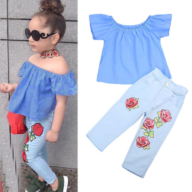 >2Pc Set Kid Baby Girl <font><b>Outfit</b></font> Off Shoulder <font><b>Shirt</b></font> Pullover <font><b>T</b></font>-<font><b>shirt</b></font> Long Pants <font><b>Jeans</b></font> Clothes <font><b>Outfit</b></font> Sets Age 1-7Year