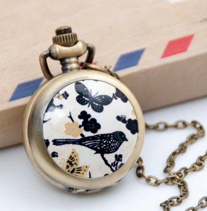 Модные Винтаж кварцевые карманные часы сплав птица Цветы бабочки леди свитер цепи Цепочки и ожерелья Подвеска часы Для женщин Подарки Часы