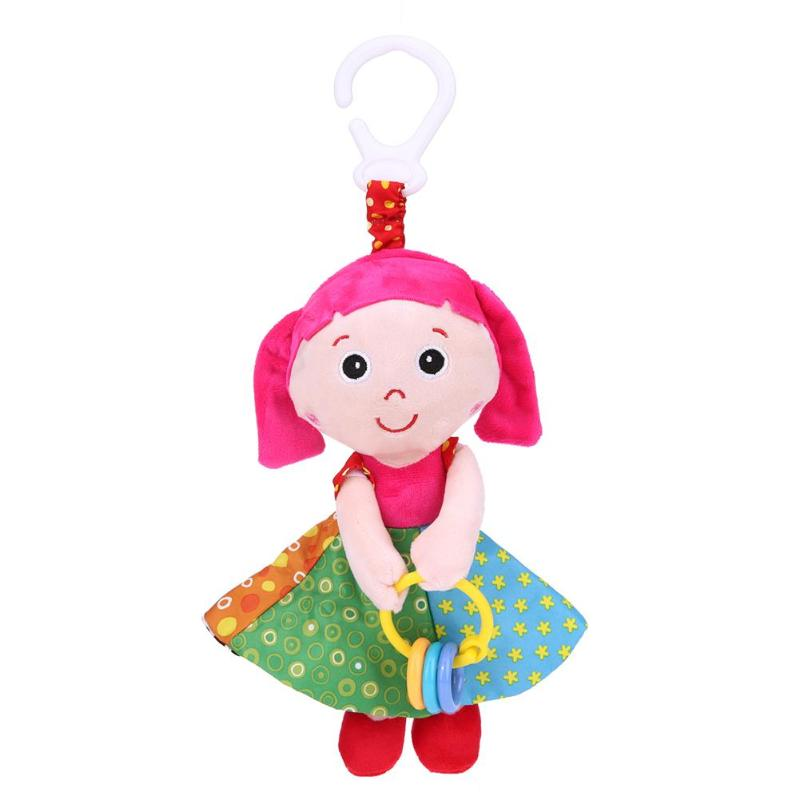 Newborn Baby Girl Shape Comforts Doll Toys Soft Plush Sound Rattles Toy Bed Crib Stroller Hanging Bell Toy For Children Kids
