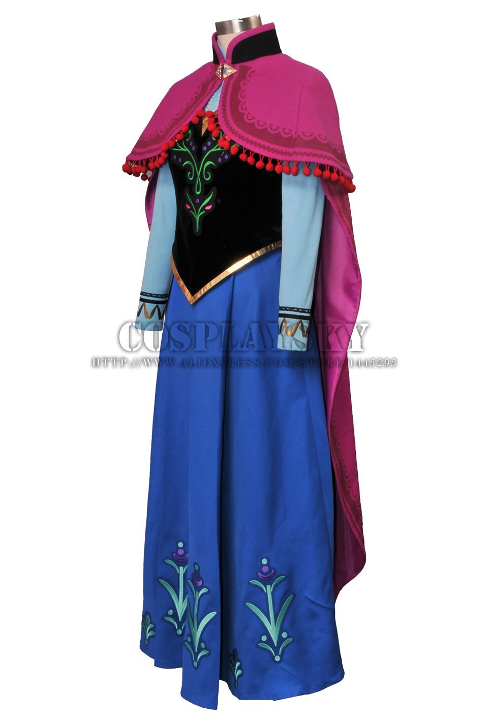 Frozen Anna Cosplay Costume Princess Anna Costume Set_02