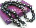 Wholesale free shipping >>9-10MM Tahitian natural black pearl necklace