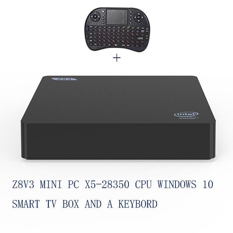 Z83V Smart TV Box 2G RAM 32G ROM Windows 10 Mini PC Bluetooth4.0 2.4 GHz/5 GHz WiFi BT 4.0 Lettore Multimediale USB 3.0 64Bit pk x96 x92