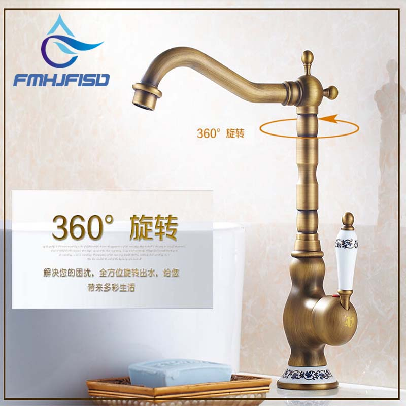 Wholesale And Retail Deck Mounted Single Handle Hole Bathroom Sink Mixer Faucet Antique Brass Hot and Cold Water Face Mixer Tap flg bathroom faucet antique brass all copper double handle 360 degree rotating deck mounted cold hot sink mixer water tap 10703