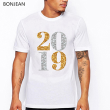 Newest t shirt men Gold and silver number 2019 printed tshirt fashion tee homme summer top hip hop cool rock t-shirt