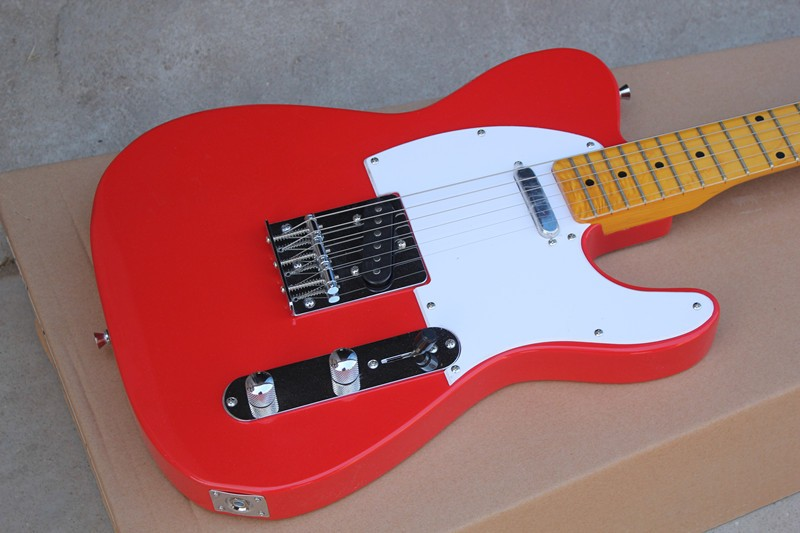 Guitare électrique à corps rouge personnalisée en usine et ramassage TL, quincaillerie chromée, manche en érable, choix blanc, peut être personnalisé, del gratuite