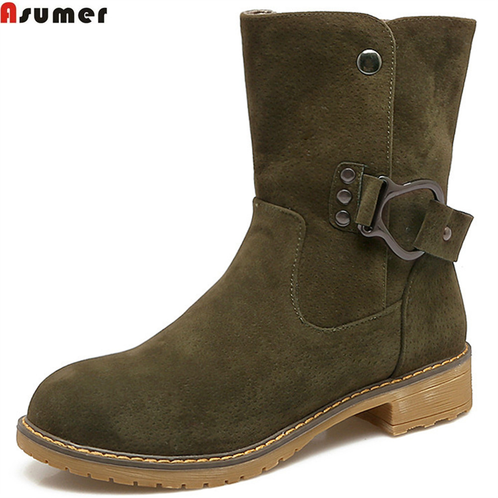 Asumer fashion autumn winter new arrive women boots round toe flock square heel ladies boots buckle black wine red ankle boots asumer 2018 fashion apring autumn new