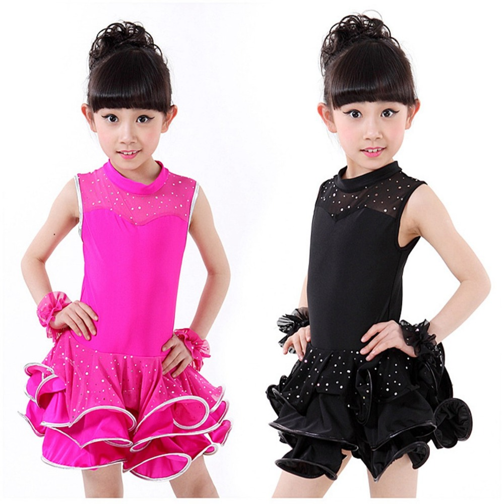 Summer Fashion Girls Kids Children Performance Stage Sleeveless Dancewear Ballroom Latin Salsa Dance Dresses Dress Vestido S3011 3colors 100 160cm height kids child girls tassel dress ballroom latin salsa fashion dancewear dance costume dresses gifts