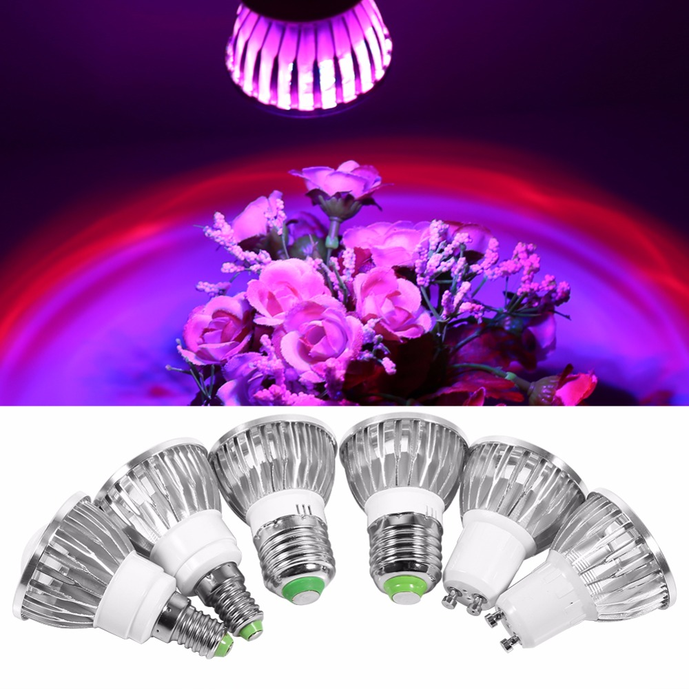 LED Grow Light 85-265V E27/E14/GU10 6/10LED Flower Plant Grow Lights Convex Bulb Lamp For Greenhouse Indoor Hydroponics Vegs