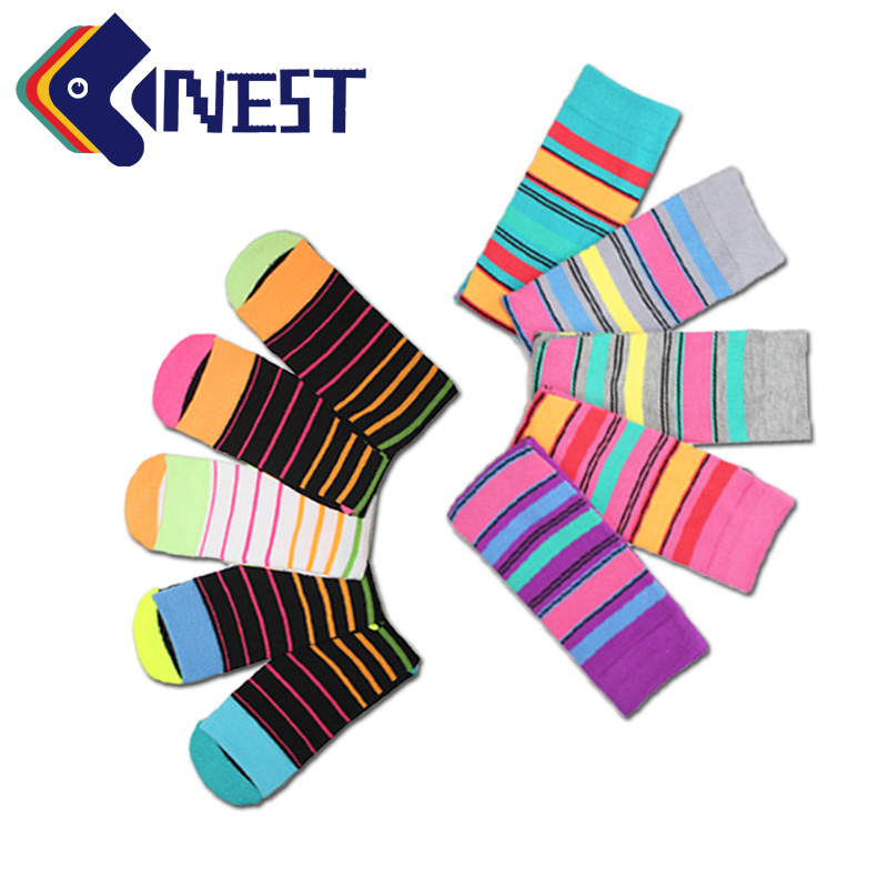 NEST 5 Pairs/Lot Colorful Business man Women Dress Sock Work Terry Socks Soft Business Socks Free Size Elastic Happy Socks