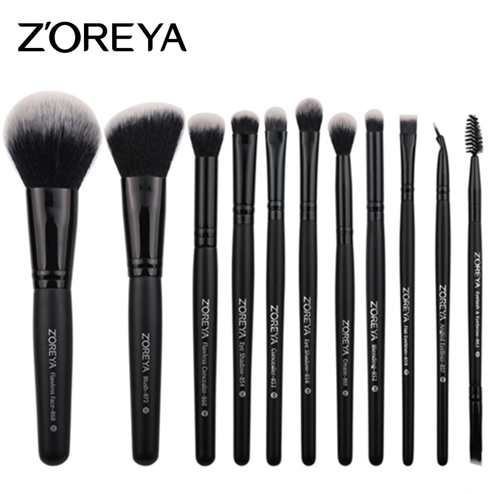 ZOREYA 11pcs Makeup Brushes Professional Blush for Eye Makeup Brush Set Eyeliner Cosmetic Make Up Brush Maquiagem professional luxury makeup brushes set champagne makeup brushes cosmetic brush beauty maker pinceis maquiagem makeup tool bag