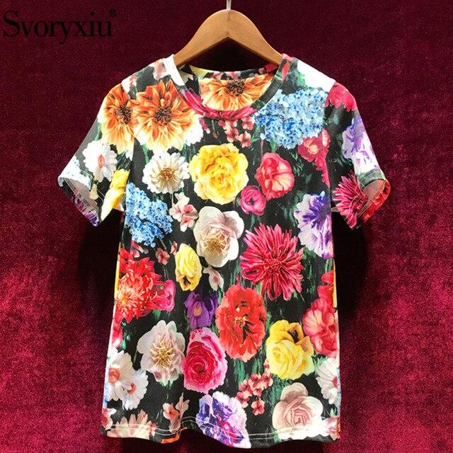 Svoryxiu Fashion Summer Flower Print T Shirts Women's Crystal Diamond Designer Cotton Casual Short Sleeve Tops Tees Female 2019
