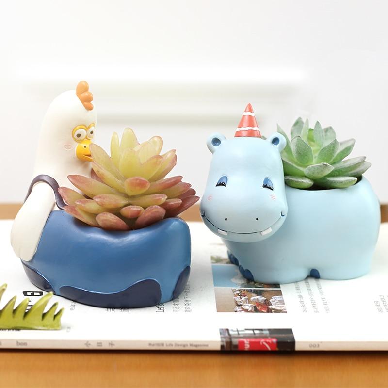 Cartoon Flower Pots Planters Flower Vases Home Decor Garden Ornaments Ceramic Pots Cute Animals