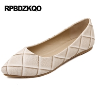 Chinese Office Slip On Large Size Pointed Toe Plaid White Black 11 Flats Nude Work Ladies