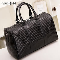 Nanafree 2018 New PU Leather Men Travel Bags Carry On Luggage Bags Men Duffel Bags Travel