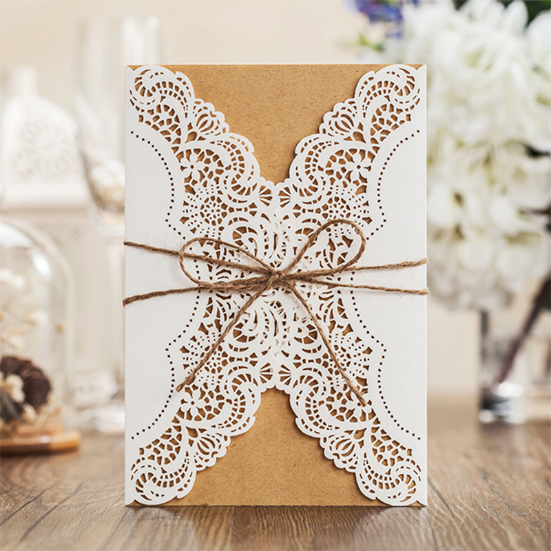 1 Design Laser Cut White elegant Pattern West Cowboy Style Vintage Wedding invitations Card Kit Blank Paper Printing Invitation fishnet lace panel garter