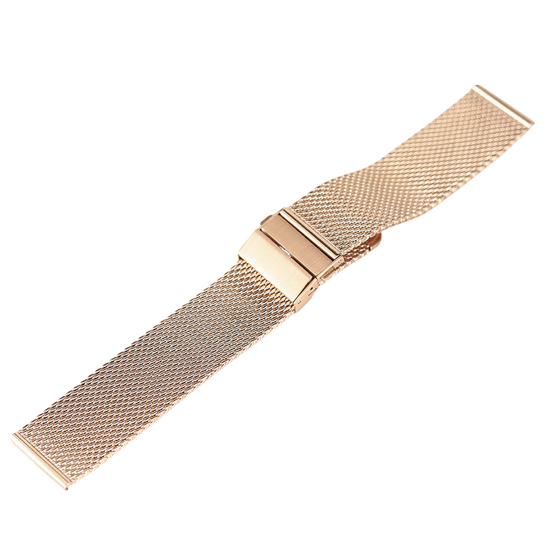 YISUYA 18mm 20mm 22mm Stainless Steel Watchband Rose Gold Watch Strap Hook Buckle Bracelet for Wristwatch Replace High Quality quality solid stainless steel watchband 18mm 23mm 25mm grace rose gold watch bracelet for constellation double eagle strap