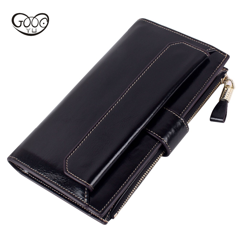 The new European and American style first layer of leather in the long multi-color wallet large capacity multi-card bit leather