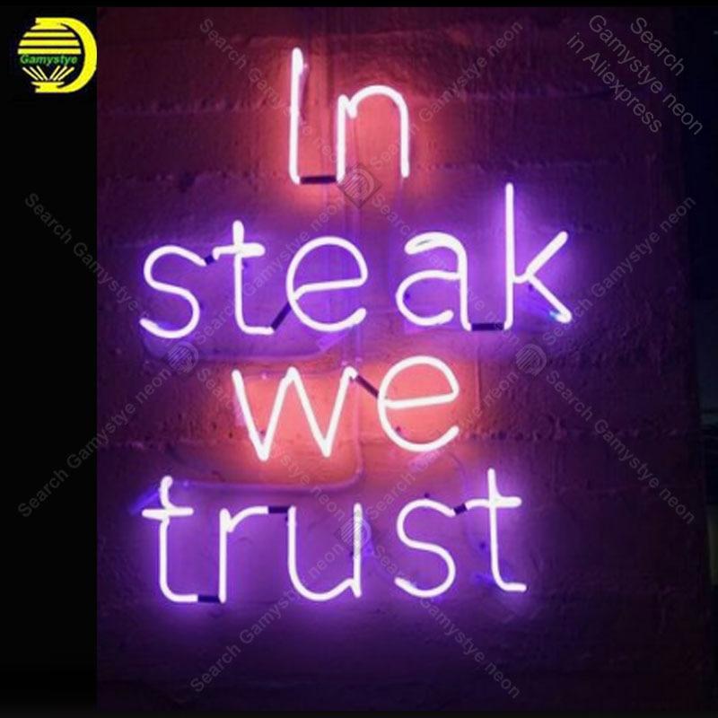 Enseigne au néon pour Steak nous faisons confiance aux ampoules au néon enseigne lampe Pub affichage bière éclairer enseigne murale enseigne au néon pour chambre Letrero Lampara