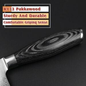 Image 3 - XINZUO 6.8 بوصة Nakiri المطبخ سكين VG10 دمشق الصلب الشيف السكاكين اليابانية الجزار سكين اللحوم السكاكين Pakka الخشب مقبض