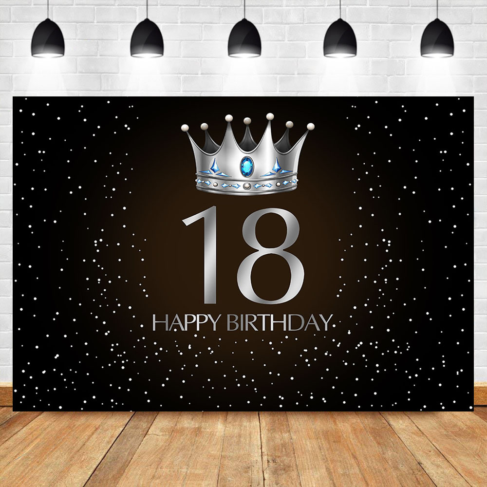 NeoBack 18th Birthday Adult Party Backdrop Silver Crown Blue Gem Photo Background Little Dots Black Photography Background