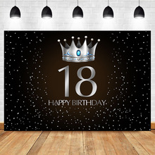 Get more info on the NeoBack 18th Birthday Adult Party Backdrop Silver Crown Blue Gem Photo Background Little Dots Black Photography Background