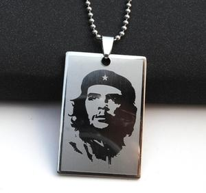 Cool Boy Men Ernesto Che Guevara Stainless steel Tag Pendant Necklace Punk Rock Laser plating Leather Beads chain Jewelry Gift W(China)