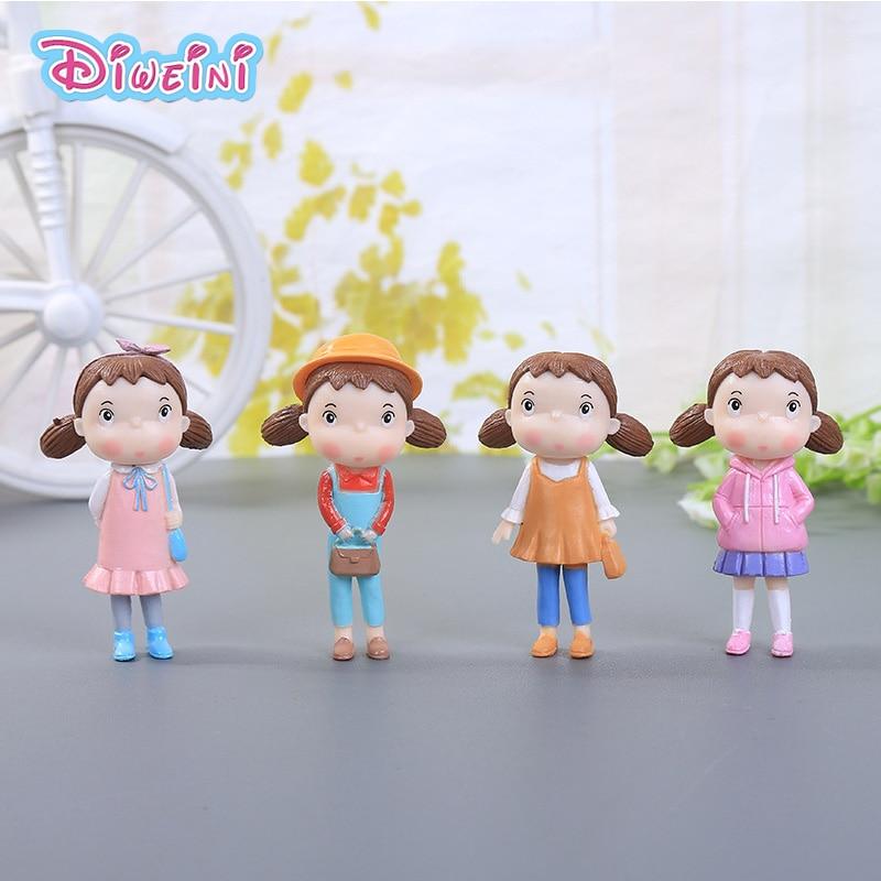 Autumn clothing Xiao Mei Cartoon Baby Girls Miniature Figurine mini Kawaii Girl models Anime Figures Toys Pretend House