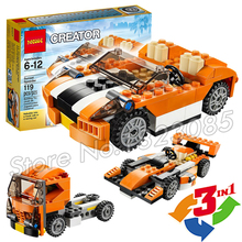 119pcs 3in1 Creator Sunset Speeder Truck Cab Racing Car Diy 3d Model Building Blocks Minifigures Bricks Toy Compatible With Lego