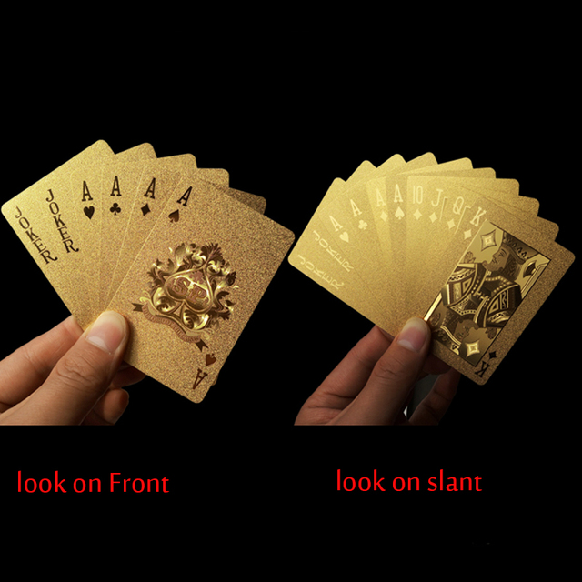 Golden Playing Cards Deck 24K Gold Plastic Foil Poker Durable Waterproof Cards