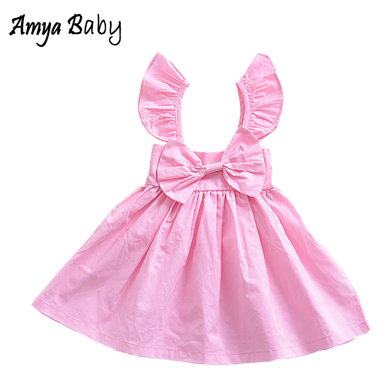 Amyababy Baby Girl Dresses Cotton Infant Summer Dress Baby Girls Clothing 1 Year Birthday Dress Bow Newborn Girl Party Dresses