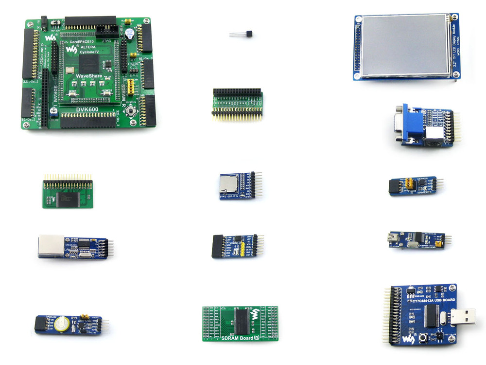 Waveshare EP4CE10 EP4CE10F17C8N ALTERA Cyclone IV FPGA Development Board + 12 Accessory Modules Kits = OpenEP4CE10-C Package A waveshare ep3c5 ep3c5e144c8n altera cyclone iii fpga development board 19 accessory modules kits openep3c5 c package b