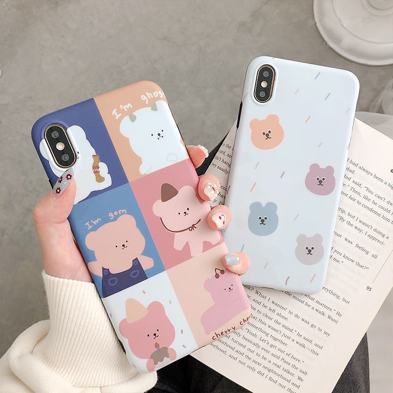 Pretty bear case for iphone 6 6splus 7 8 plus cute bare back xs max xr x 10 silicone soft matte phone cases
