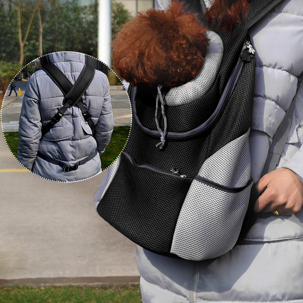 Pet Backpack Carrying Dog Breathable Outdoor Travel Bag Carrier Backpack Oxford Cloth+mesh Grid Dog Carriers E5m1