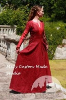 Custom Made Red Medieval Dress Pretty Amaryllis Tea Period Costume