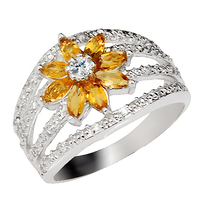 Natural Citrine Ring 925 Sterling Silver Yellow Crystal Woman Fashion Fine Elegant Jewelry Princess Lux Birthstone Gift sr0326c