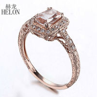 HELON Brilliant Solid 10K Rose Gold Cushion 7x5mm Morganite Pave Natural Diamond Engagement Wedding Art Deco Fine Jewelry Ring