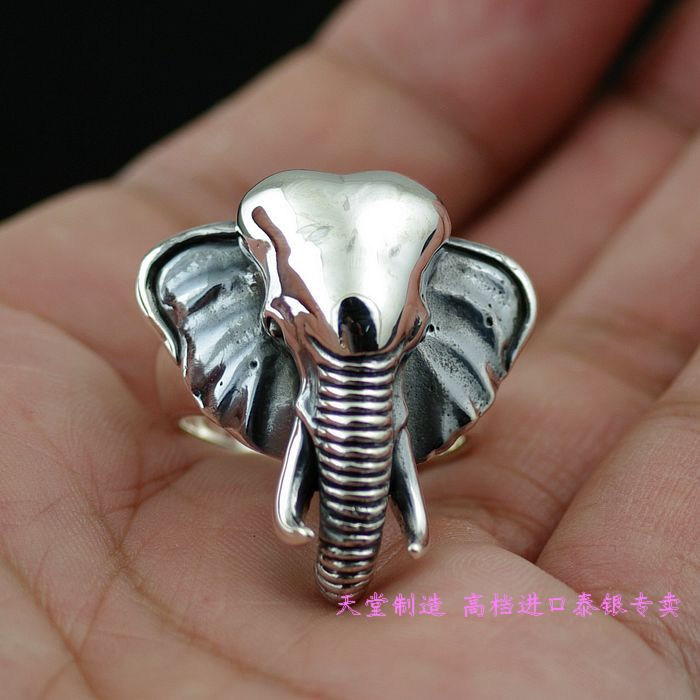 Thailand imports 925 sterling silver ring, elephant head thailand imports skull blood new skeleton silver ring