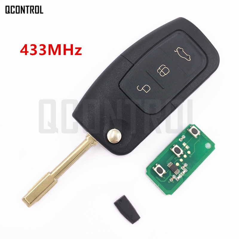 QCONTROL Autofernschlüssel Fit für Ford Fusion Fokus Mondeo Fiesta Galaxy Automobil FO21 Klinge Flip Schlüssel