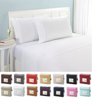 Bedding Set 1 Fitted Sheet 1 Flat Sheet Pillowcase 3 4pcs US Size Solid Twin