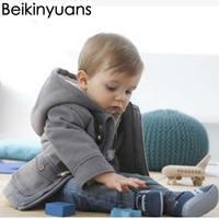 Baby Boys Jacket New Winter Clothes Outerwear Coat Cotton Thick Paragraph Horn Button Kids Clothes Children