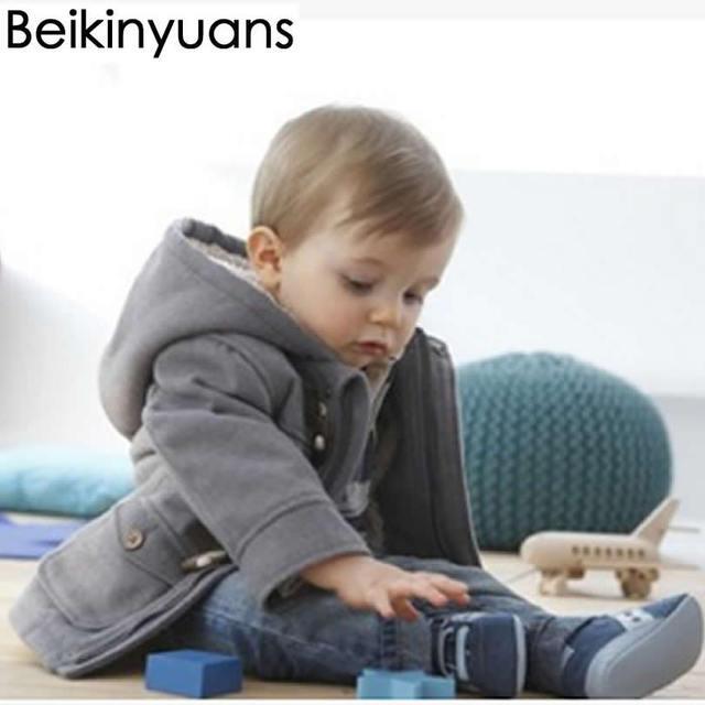 big sale a8b39 cd294 US $19.39 21% OFF|Baby Jungen Jacke Neue Winterkleidung Oberbekleidung  Mantel Baumwolle Dicke Absatz Hupenknopf Kinder Kleidung Kinder Kleidung  Mit ...