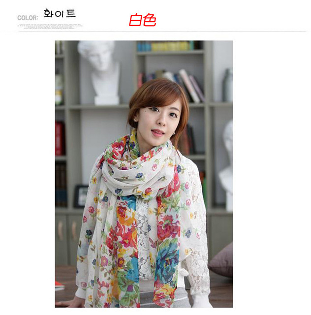 W015 Hot! New Gifts Flowers are Blooming Warm Scarf  Winter Fashion Lady Scarf Shawl Flower Garden Chopped