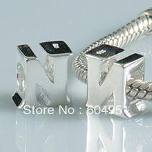 1 unids/lote 925 letra N del encanto adapta pulseras Chamilia Pandora Style Jewelry