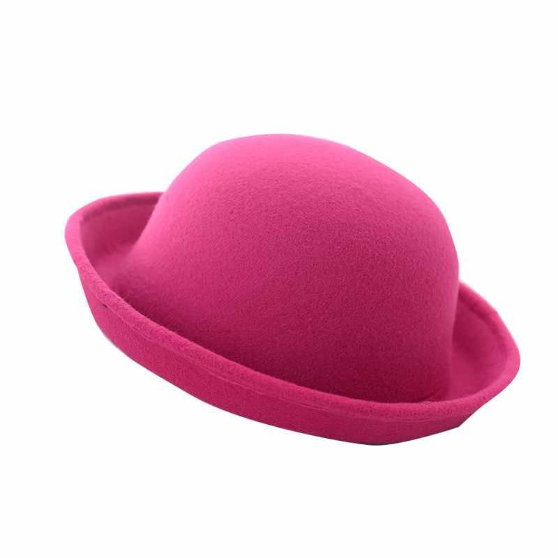 8f4a99027fd89 ... Women Fashion Vintage Bowler Top Hats Nice Roll Brim Derby Fedora Dome  Cap ...