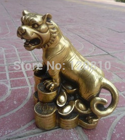 Beautiful Old Qing Dynasty(Qianlong1726  1782) Copper Tiger money statue|statue box|statue bronze|statue - title=