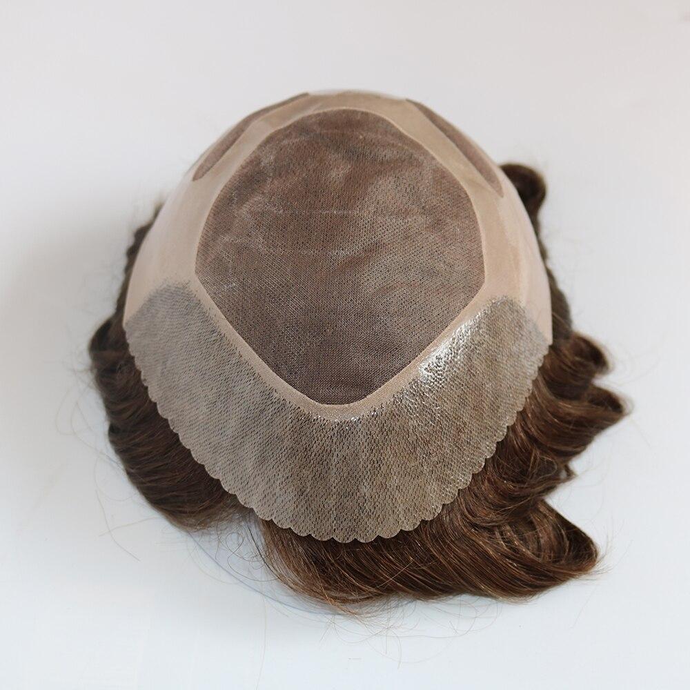 Eversilky Коричневый Прочного тонкого моно с NPU Для мужчин конский волос 100% человеческих волос заменить Для мужчин t Системы Для мужчин s парик Цв