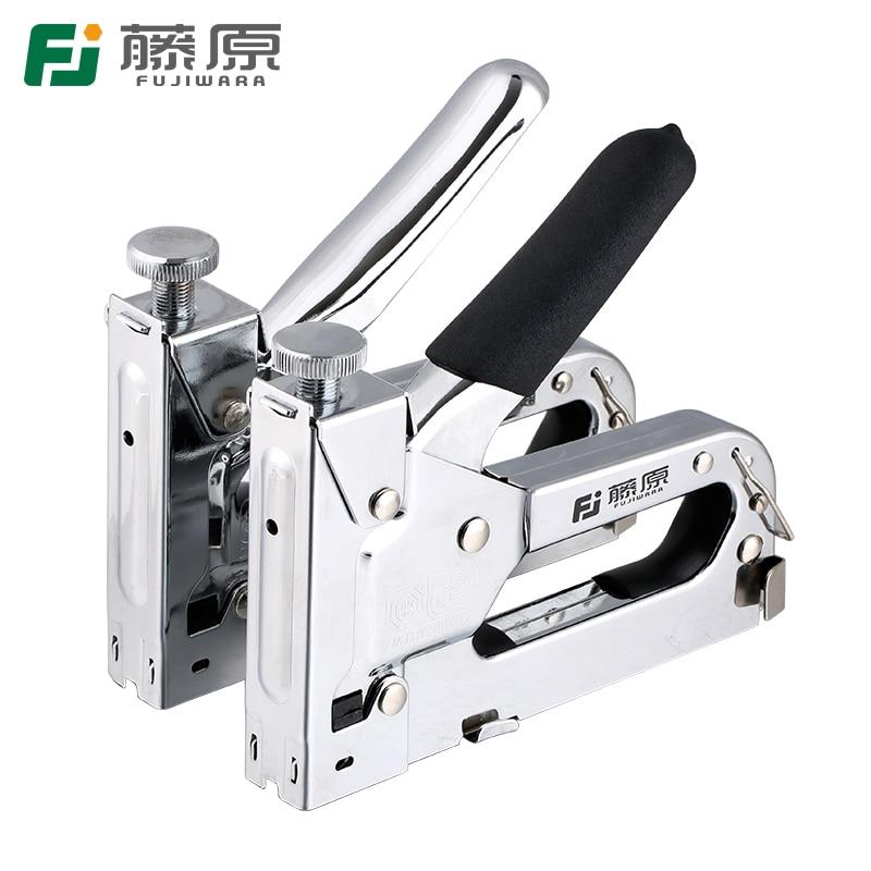 Grapadora de clavos FUJIWARA Pistola de clavos manual Pistola de clavos de acero inoxidable de servicio pesado de tres usos con 800 grapas adjuntas